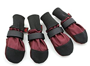 Muttluks Woof Walkers 4.25-Inch to 4.75-Inch Dog Boots, X-Large, Burgundy, Set of 4