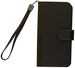 AceAbove Leather Wallet Cover with Hand Strap for Samsung Galaxy S6 Edge - Dark Brown