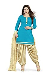 Bhagwati Women's Cambric Cotton Unstitched Dress Material (Sultan1005_Blue_Freesize)