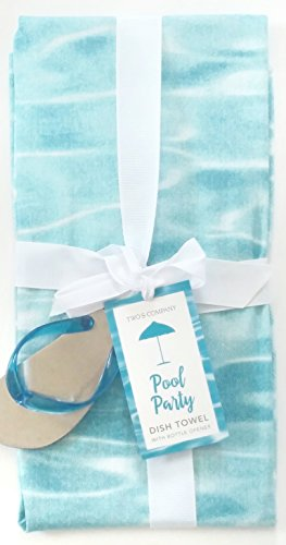 Two's Company 51277 Pool Party Dish Towel with Flip Flop Opener, Blue (Flip Flop Bottle Opener Set compare prices)