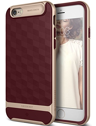 iPhone 6 Case, Caseology [Wavelength DIA] [Parallax Series] Textured Pattern Grip Case [Burgundy] [Shock Proof] for Apple iPhone 6 (2014) - Burgundy