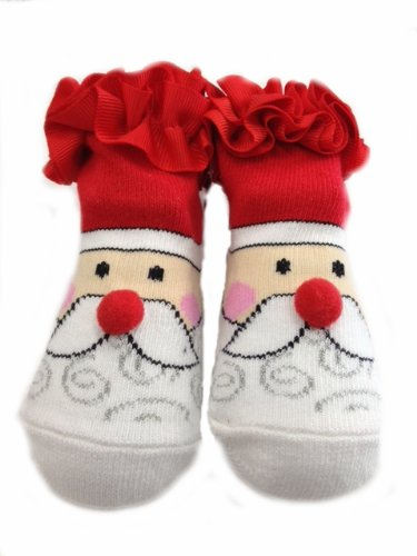 Ruffled Santa Claus Infant Socks Fits 0-12 Month front-567411