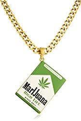 Urban Goldtone Marijuana Cigarettes Pack Pendant and 18 Inch Cuban Necklace