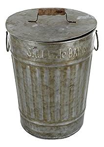 Bathroom trash can with lid zinc french vintage design Lidded trash can for bathroom