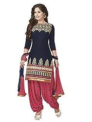 New Blue Cotton Patiyala Dress materials
