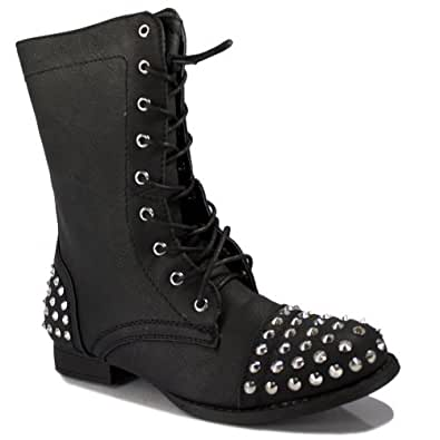 Bamboo Shoes Rascal-01 - Women's Black Chestnut Taupe Studded Spike Military Combat Boot