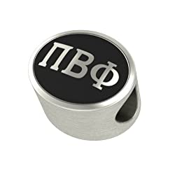 Pi Beta Phi Black Antique Oval Sorority Bead Charm Fits Most Pandora Style Bracelets. High Quality Bead in Stock for Fast Shipping