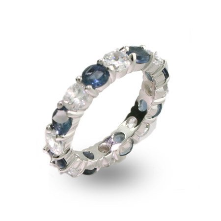 Sapphire and Clear CZ Silver Eternity Ring Size 6 (Sizes 5 6 7 8 9 Available)
