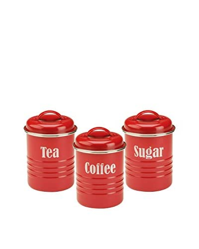 Typhoon Set of 3 Vintage-Kitchen Canisters, Red
