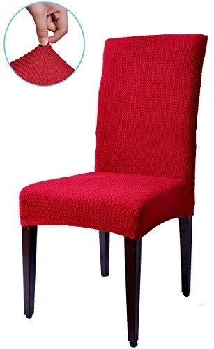 Subrtex Jacquard Stretch Dining Room Chair Slipcovers (4, Wine Jacquard)