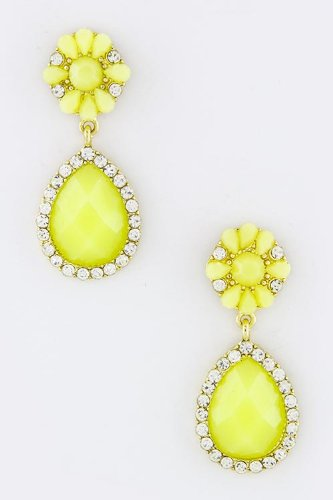Contempo Couture Oval Crystal Floral Earrings (Lime) front-978694