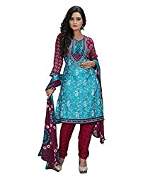 Fashionx Women Cotton Printed Unstitched Dress Material(CREPEBLUE_Blue_Free Size)