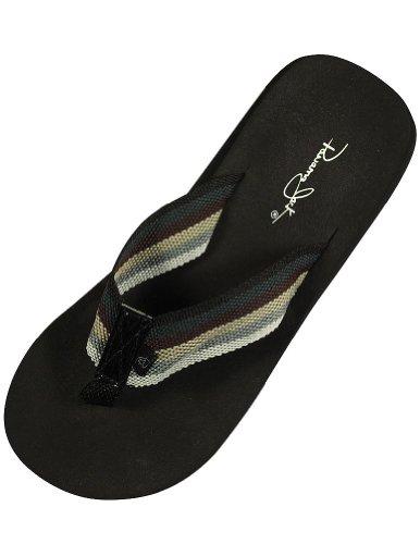 Panama Jack - Ladies 1inch Flip Flop Sandal, Black, Grey 34367-Small (Panama Jacks compare prices)