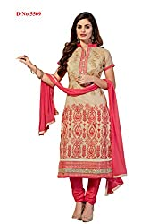 JHEENU Pure chandari unstitched Straight Salwar Suit dress material