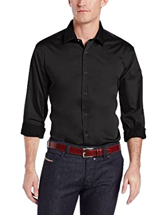 Perry Ellis Men's Big-Tall Long Sleeve Twill Noniron Medium Spread Collar Shirt, Black, 2X-Large/Tall