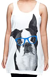 Mtm157 Dog Boston Terrier Cute Blue Sunglass Women T-SHIRT DRESS Tank Top Vest