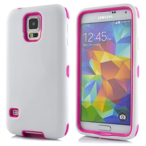 Meaci® Samsung Galaxy S5 I9600 Combo Hybrid Defender High Impact Body Armorbox Hard Pc&Silicone Case (White&Pink)