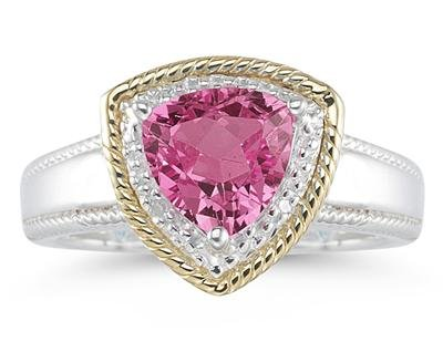 Trillion Cut Pink Topaz Ring in 14k Yellow Gold and Silver