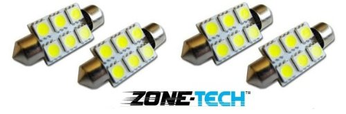 Zone Tech 4X 37Mm High Power 6 Smd Led Festoon Dome Bulb White 12 Volt Dc
