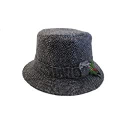 Hanna Hats Irish Made Tweed Walking Hat-Grey Tweed-Made in Ireland