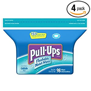Pull-Ups Just For Kids Flushable Moist Wipes Refill, 98-Count Bags (Pack of 4)