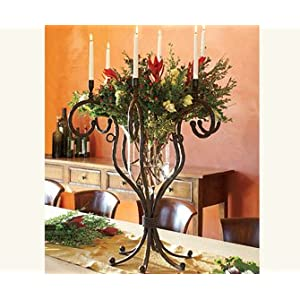 Napa Style Iron and Glass Floral Candleabra