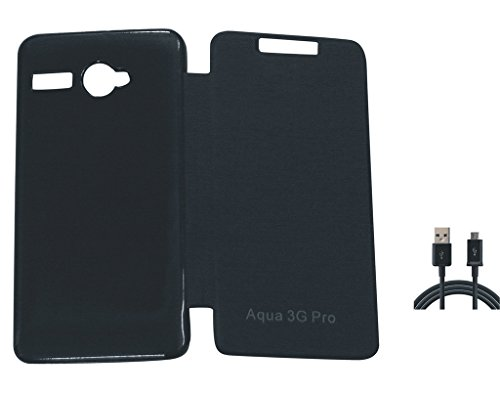Flip Cover & Charging Cable For Intex Aqua 3g Pro  available at amazon for Rs.148