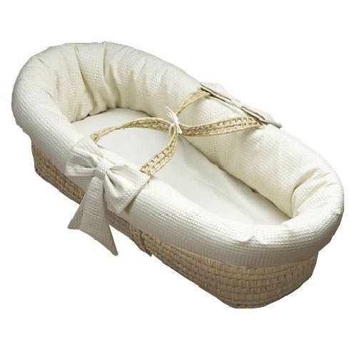 Baby Doll Bedding Pique Moses Basket, Ecru front-957341