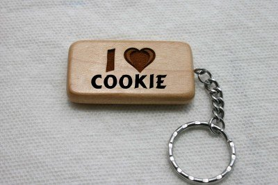 I Love Cookie Wooden Keychain