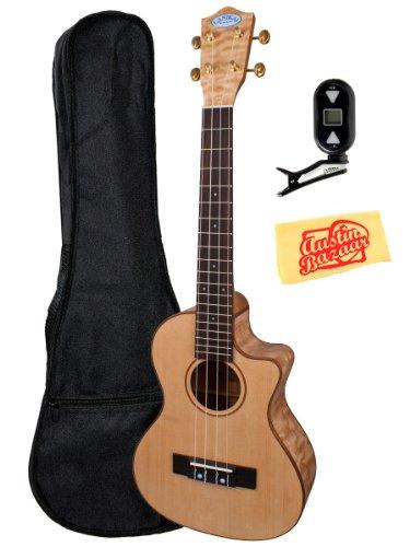 Lanikai Lqa-Tca Quilted Ash Cutaway Acoustic-Electric Tenor Ukulele Bundle With Gig Bag, Tuner, And Polishing Cloth