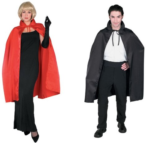 "Adult 2 Pack of 45"" Satin Capes - 1 Black/1 Red"