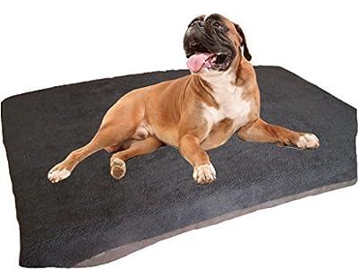 KosiPet® Large Deluxe High Density Foam Mattress Waterproof Dog Bed Beds Black Sherpa Fleece