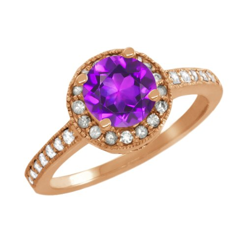 1.05 Ct Round Purple Amethyst Sapphire Gold Plated Sterling Silver Ring