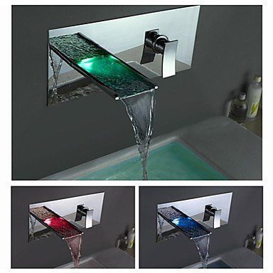 Ding Contemporary Chrome Finish Color Changing LED Waterfall Bathroom Sink Faucet (Wall Mount)