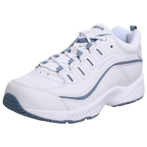 Easy Spirit Women's Romy Sneaker,White/Medium Blue Leather,8.5 W