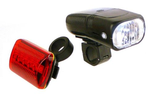 Bike Headlight and LED Tail Light Safety Set – 2 Minute Installation!