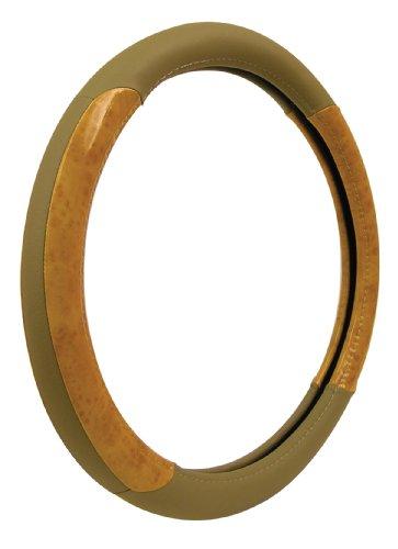 Custom Accessories 35602 Tan Genuine Leather Steering Wheel Cover with Woodgrain Design