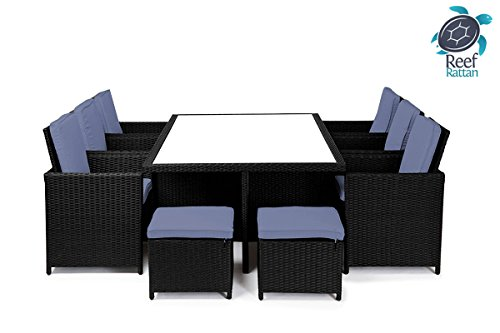 Reef Rattan Bahama 6 Cube Dining Set - Black Rattan / Ocean Blue Cushions picture