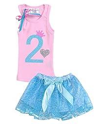 Bubblegum Divas Little Girls\' 2nd Birthday Pink Blue Skirt Set 3