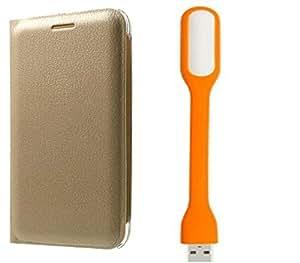 Novo Style Samsung GalaxyA8 Folio PU Leather Case Slim Cover with Stand+ Mini USB LED Light Adjust Angle / bendable Portable Flexible USB Light