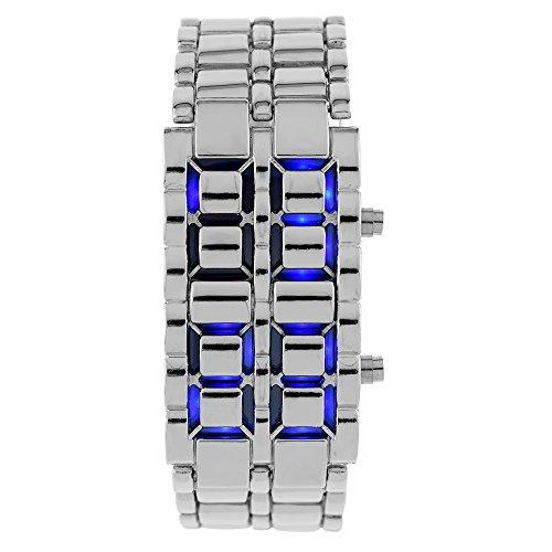 Mightyhand Men's Waterproof Lava SILVER Stainless Steel Samurai Faceless Volcanic BLUE LED Digital Bracelet Watch