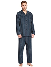 Pure Brushed Cotton Striped Pyjamas