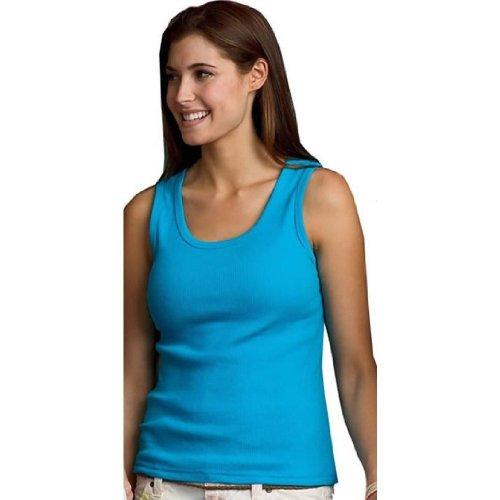 Anvil Ladies' Ringspun 2x1 Rib Tank Top in Caribbean Blue - Large