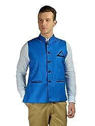 FDN Men's Jute Waistcoat(BLU775_Blue_L)