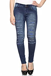 Fasnoya Distressed & Patched Up Jeans for Women