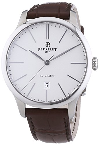 Perrelet First Class Men's Automatic Watch with Silver Dial Analogue Display and Brown Strap 1049/1