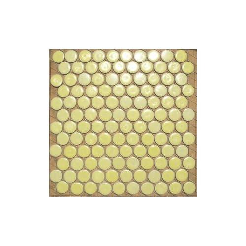 25mm丸 黄色 モザイクタイル【アウトレットタイル】