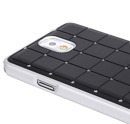 Stile Compact Samsung Glaxay Nota 3 CRISTALLO DI LUSSO Croce Diamond Black Bling duro della copertura con telaio bianco per Samsung Glaxay Nota 3