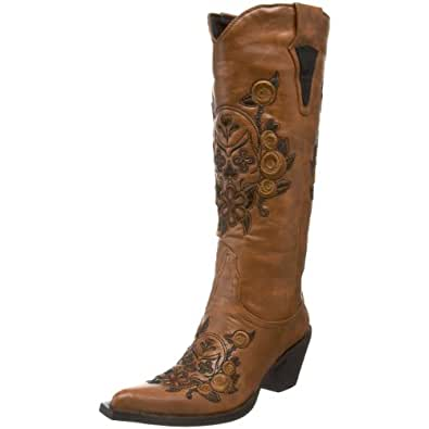 Roper Women's Dawn Western Boot,Floral/Skull Tan,5 M US
