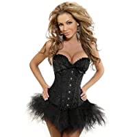 Satin Black Vintage Lace Up Boned Corset Basque/G-String Size 6,8,10,12,14,16,18,20,22,24, makes you look glamorous!